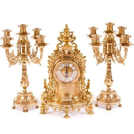 Часы каминные Барокко и 2 канделябра на 5 свечей, 3 предмета