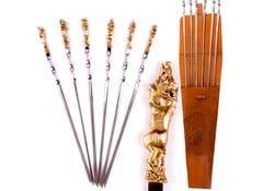 Шампура кованые Звери, 6 шт в кожаном колчане