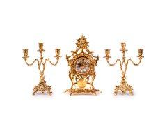 Часы каминные антикварные с маятником и канделябрами