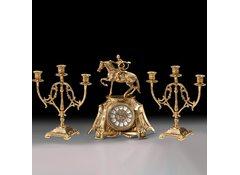 Часы настольные Всадник с канделябрами на 3 свечи