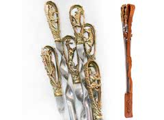 Шампура подарочные Звери-2, 6 шт в кожаном чехле
