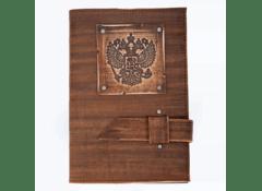 Ежедневник в подарок большой Герб кожаный недатированный