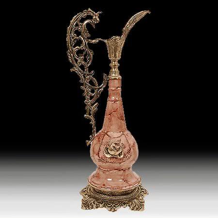 Ваза - кувшин из бронзы с эмалью под розовый мрамор