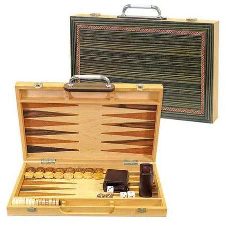 Подарочные нарды в деревянном кейсе с металлической ручкой